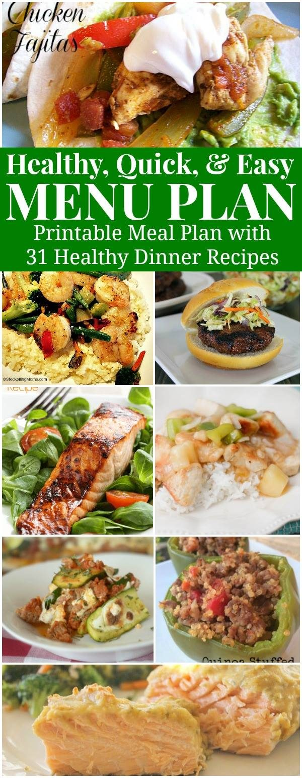 Healthy Dinner Meal Plan for May