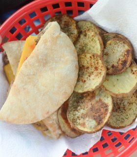 Angus Cheeseburgers & Garlic Chili Potato Chips