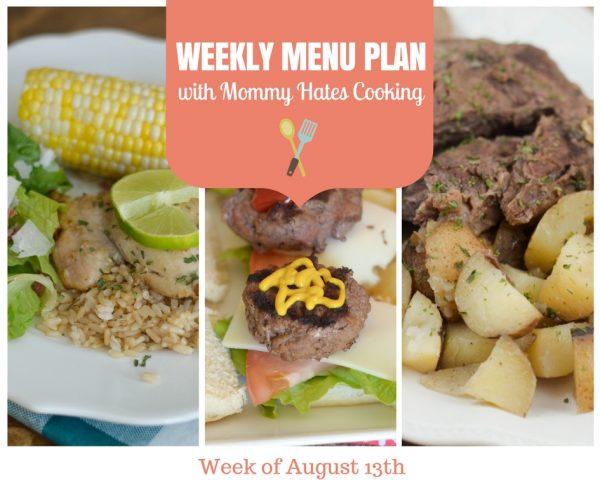 Weekly Menu Plan - Week of August 13th
