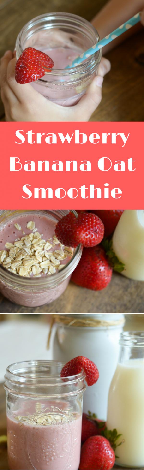 Strawberry Banana Oat Smoothie #DairyAmazing AD