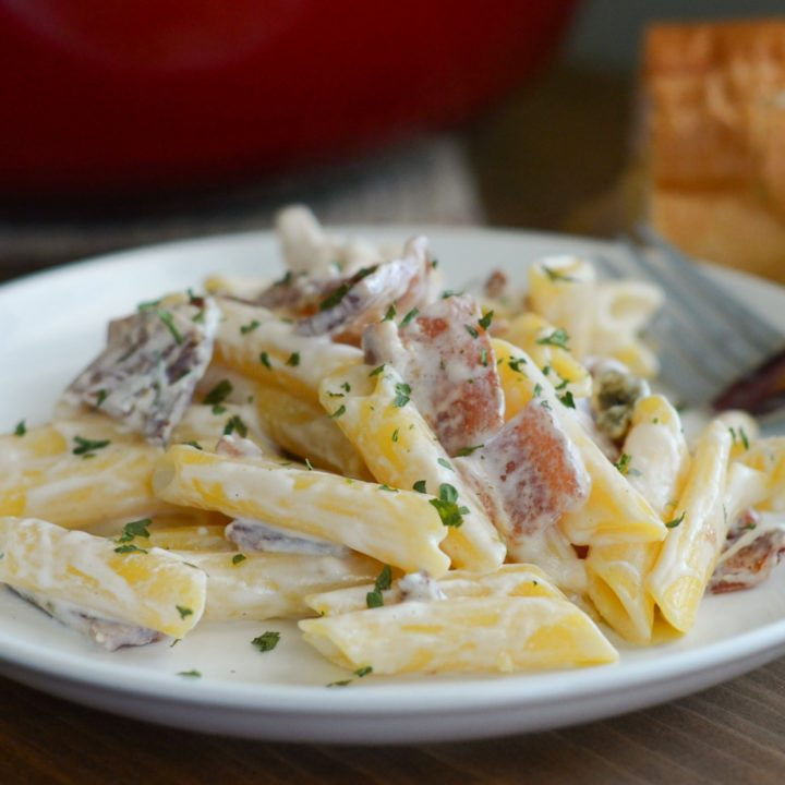 Penne Chicken Alfredo with Smoked Bacon