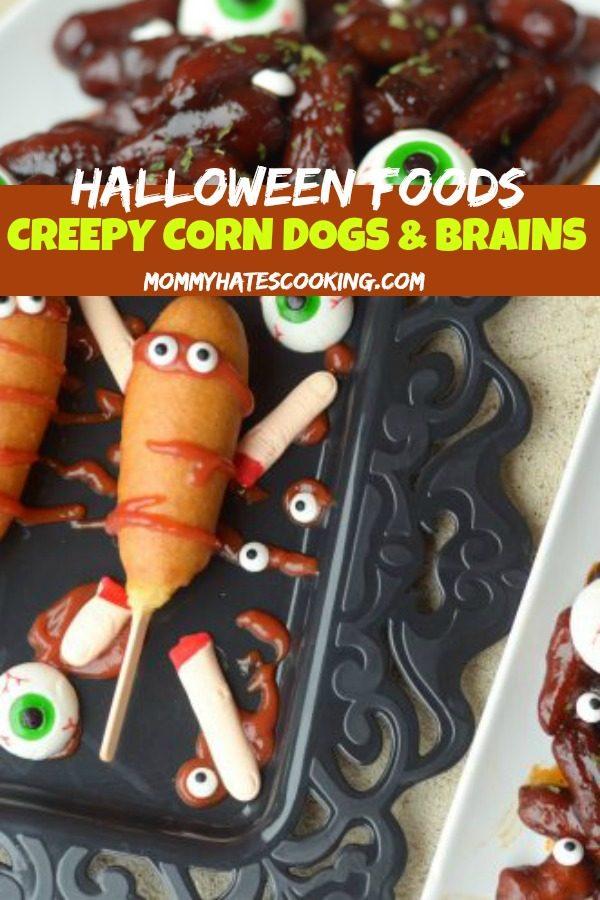 Creepy Corn Dogs & Spooky Brains #HalloweenFoods