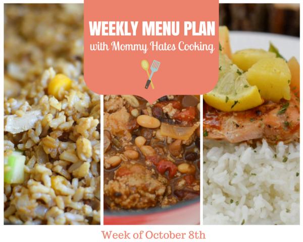 Weekly Menu Plan - Week of October 8th