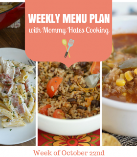 Weekly Menu Plan – Week of October 22nd