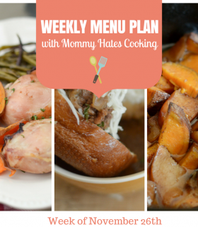 Weekly Menu Plan – Week of November 26th