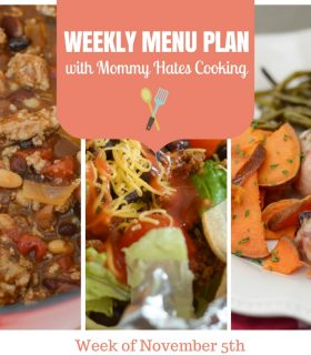 Weekly Menu Plan – Week of November 5th