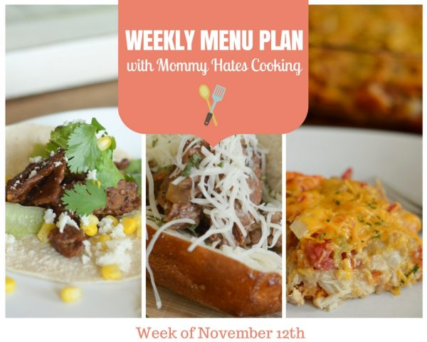 Weekly Menu Plan - Week of November 12th