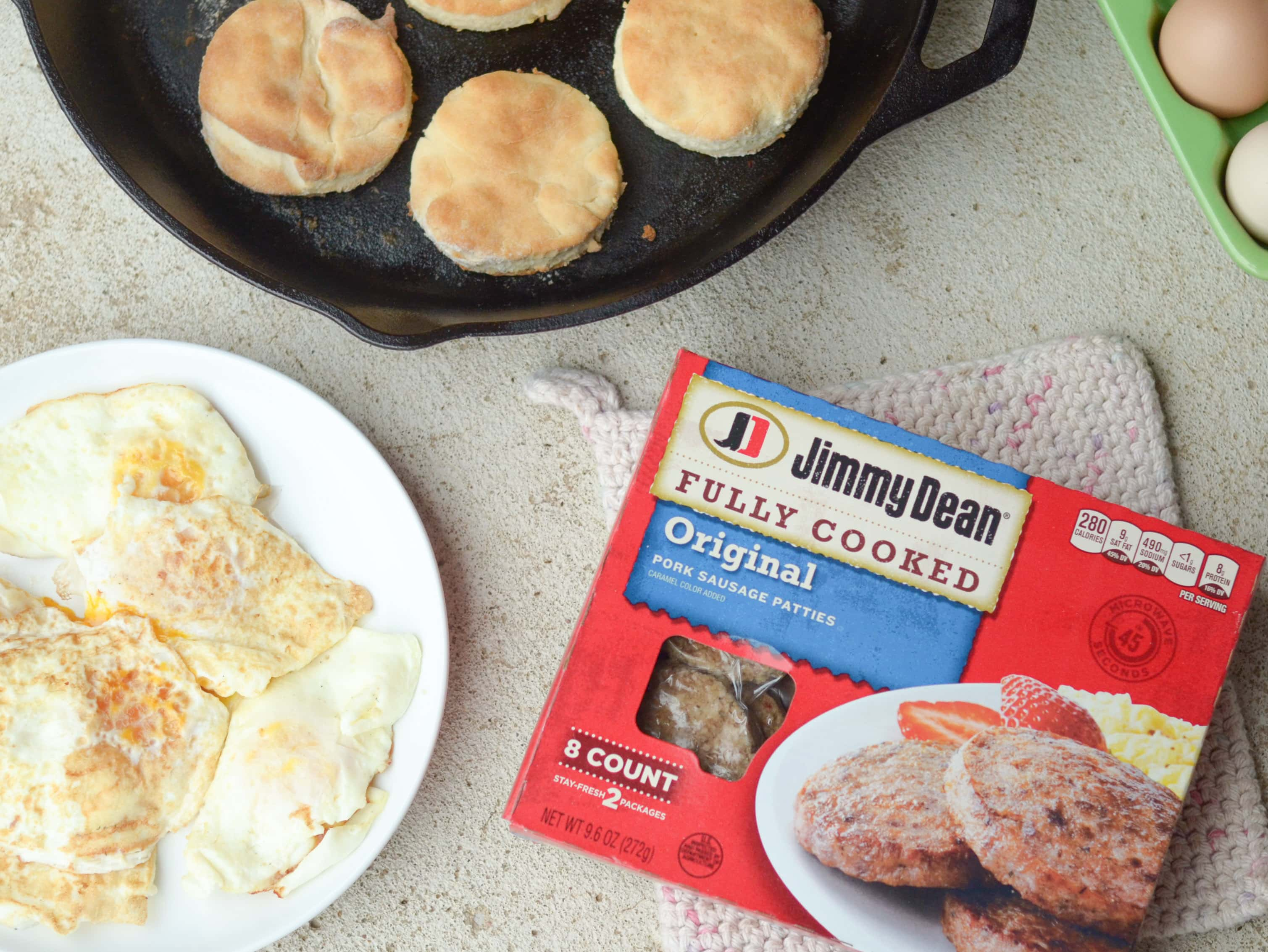 Homemade Buttermilk Biscuits with Sausage & Egg