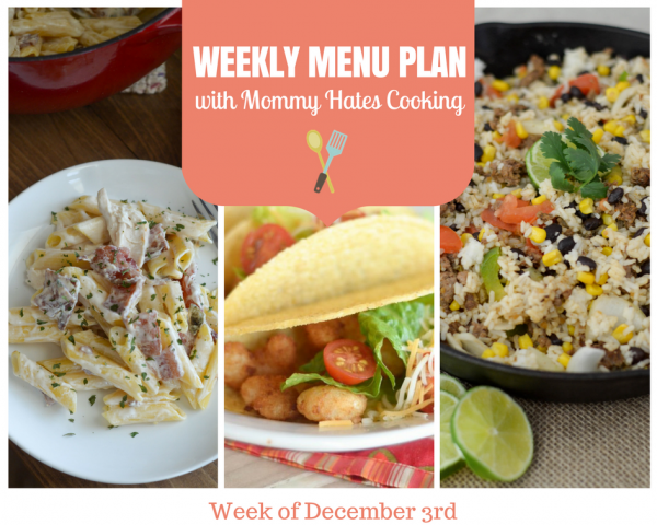 Weekly Menu Plan - Week of December 3rd