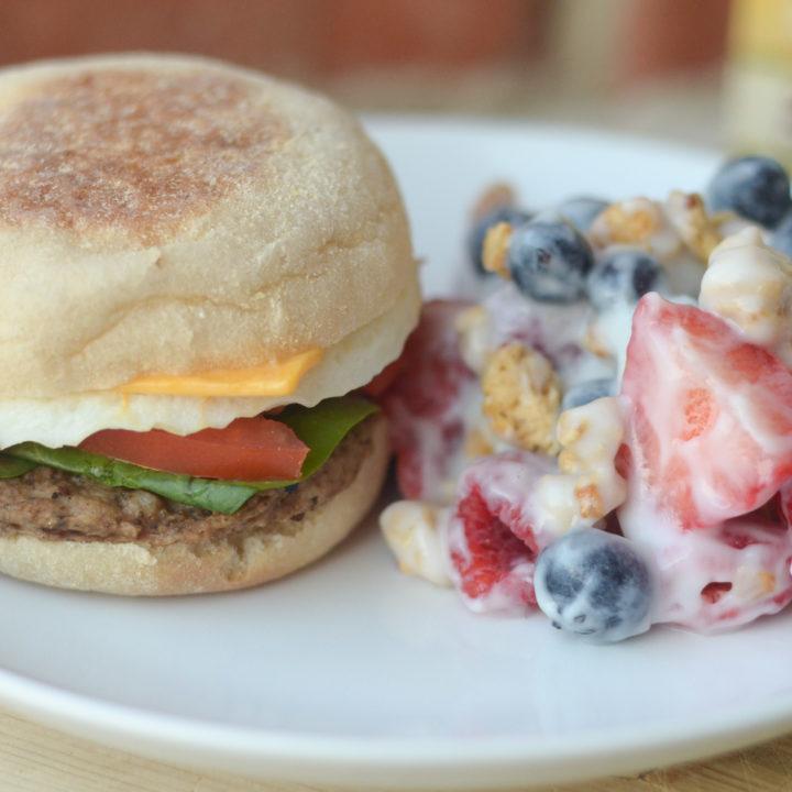 Jimmy Dean Delights Breakfast Sandwich & Fruit Salad