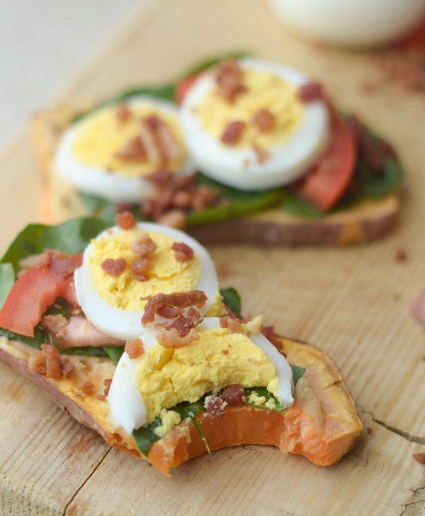 Egg Topped Sweet Potato Toast