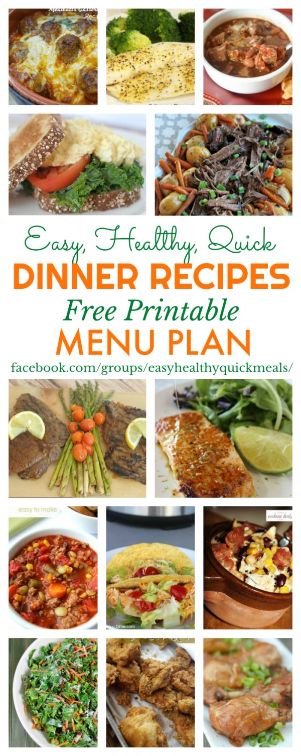 Easy, Healthy, & Quick Dinner Recipes - Menu Plan for January