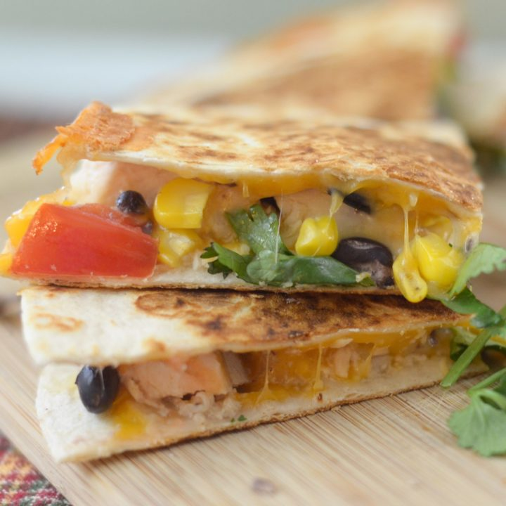 Chicken and Corn Salsa Quesadillas