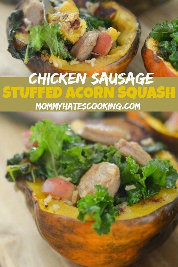Chicken Sausage Stuffed Acorn Squash