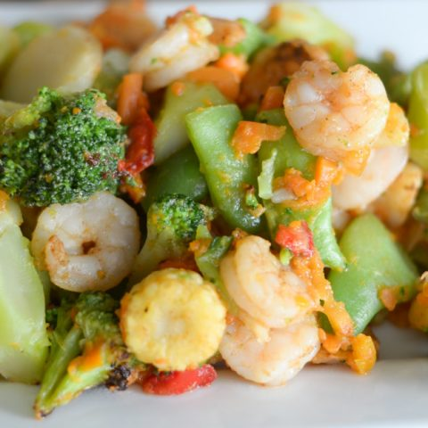 Air Fryer Shrimp and Vegetables