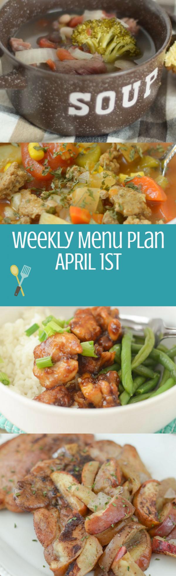 Weekly Menu Plan - Week of April 1st