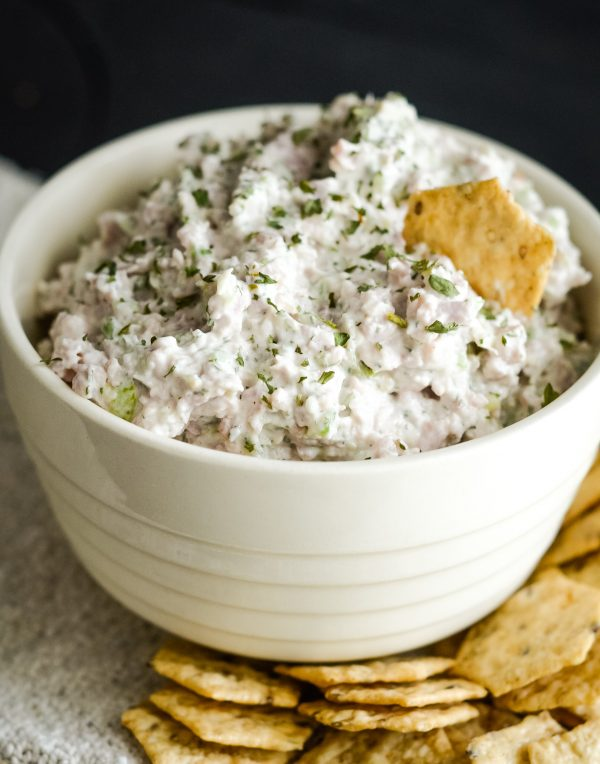 ham salad in a bowl with crackers