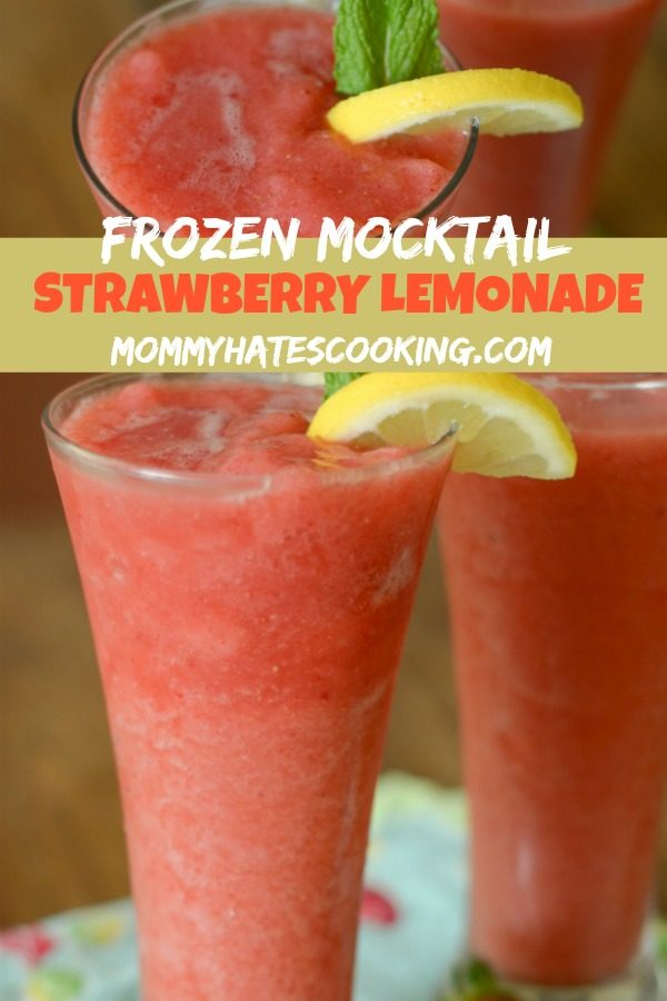 Frozen Strawberry Lemonade Mocktail #TrendingintheKitchen #Mocktails #GlutenFree