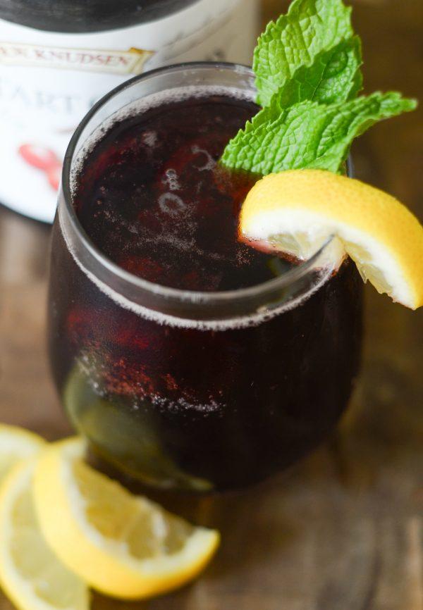 Cherry Mint Spritzer Mocktail