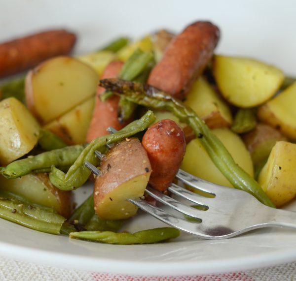 air crisp sausage, beans, and potatoes