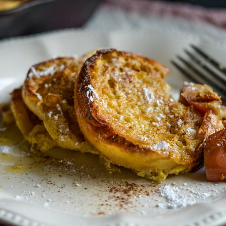 Baked Apple Cinnamon Skillet French Toast