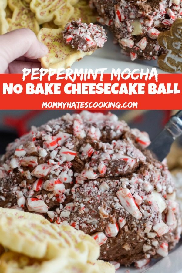 Peppermint Mocha No Bake Cheesecake Ball