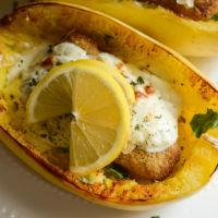 Baked Alfredo Spaghetti Squash with Lemon Herb Fillets