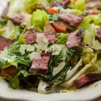 Grilled Romaine Salad with Glazed Flank Steak