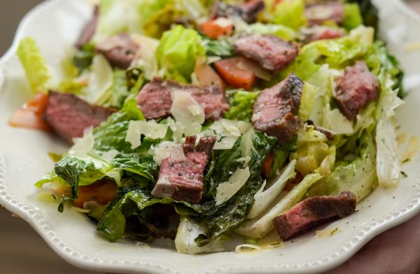 Grilled Romaine with Glazed Flank Steak