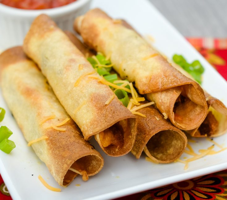 Air Fryer Beef and Bean Taquitos