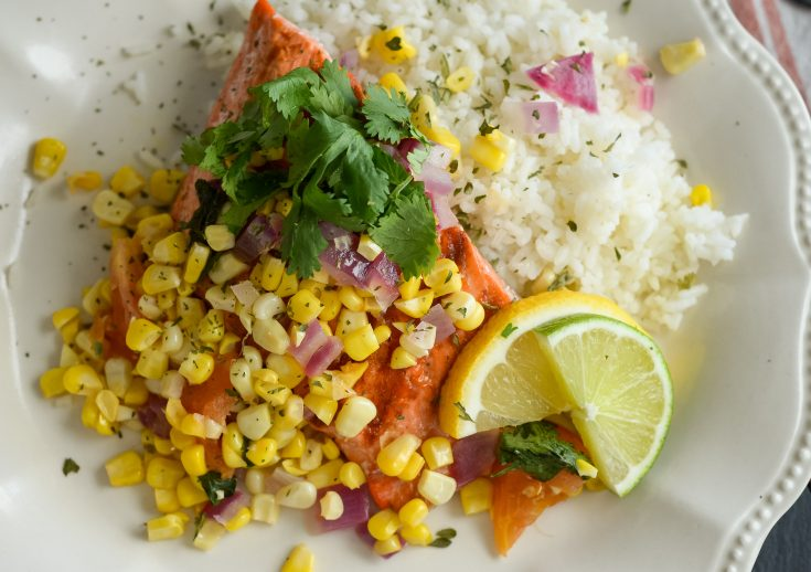 Grilled Salmon with Roasted Corn Salsa