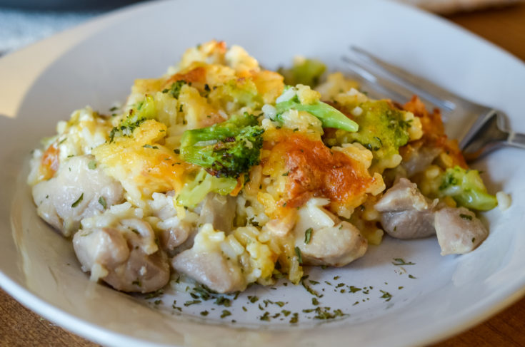 Ninja Foodi Cheesy Broccoli Chicken and Rice Bake