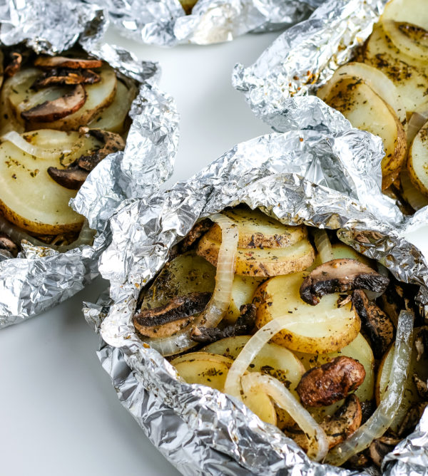 grilled potatoes in foil
